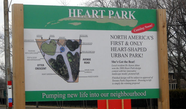 Sign describing the proposed Heart Park